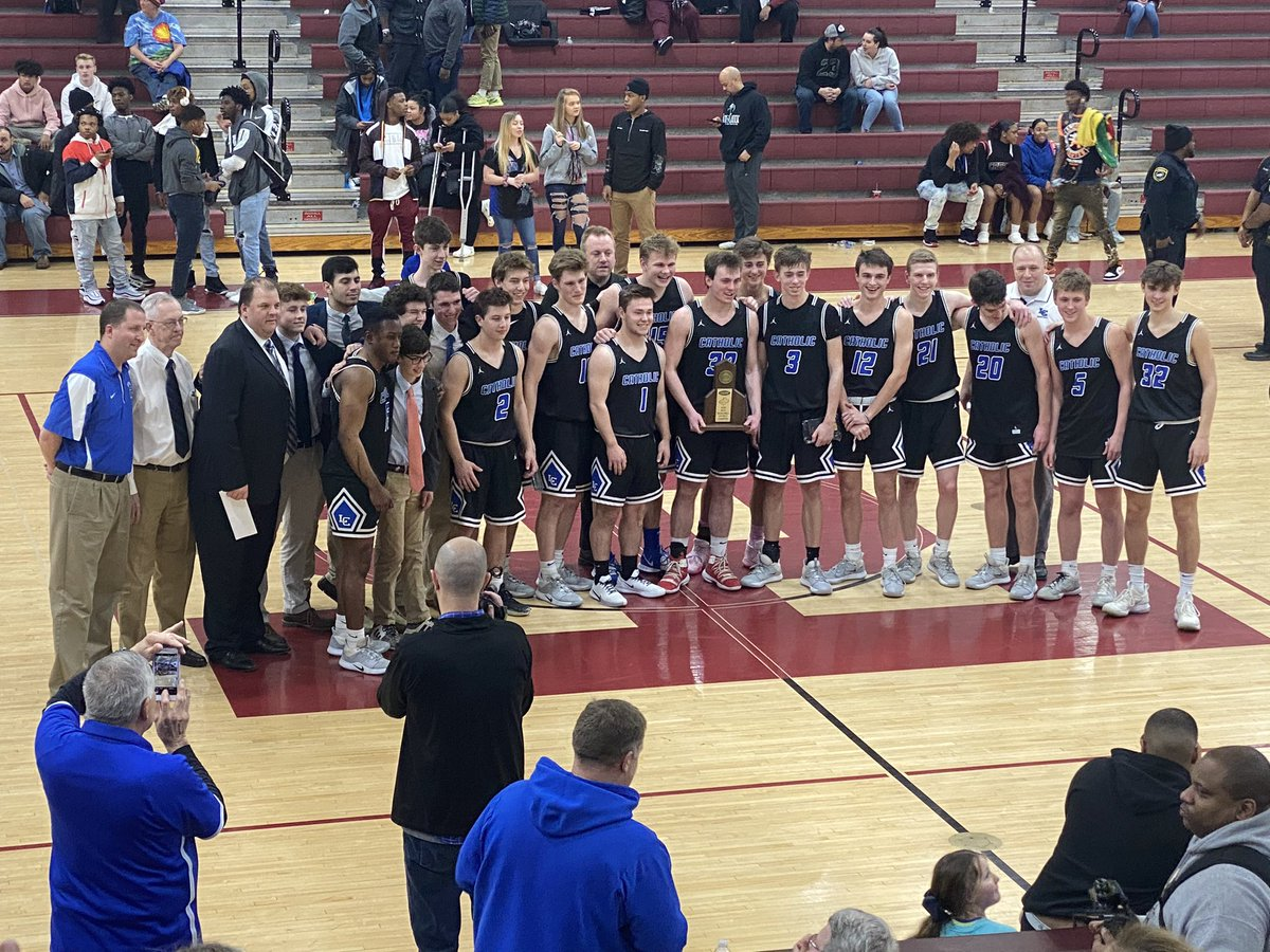 Big win tonight by @LexCath_BBall proud of all these young men and the #hardwork they have put in this year ! District champs