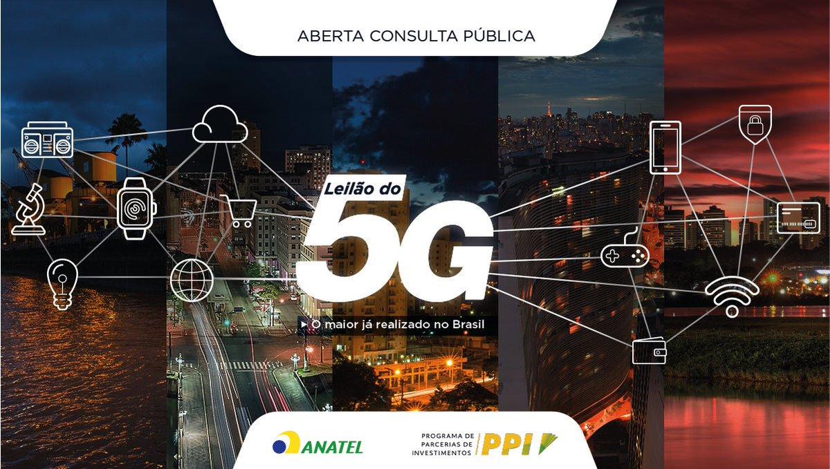 #ParticipaçãoSocial | A Anatel abriu a Consulta Pública nº 9 do Edital de Licitação das faixas de radiofrequências que permitirão a implementação da tecnologia 5G no Brasil. As contribuições da sociedade podem ser feitas até o dia 2/4.
