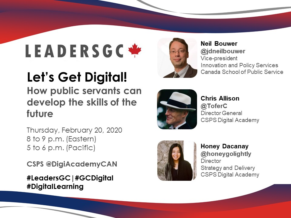 The next #LeadersGC chat on #DigitalLearning in the federal public service is only 12 hours away! Are you ready to chat with our special guests from the @DigiAcademyCAN? #GCDigital