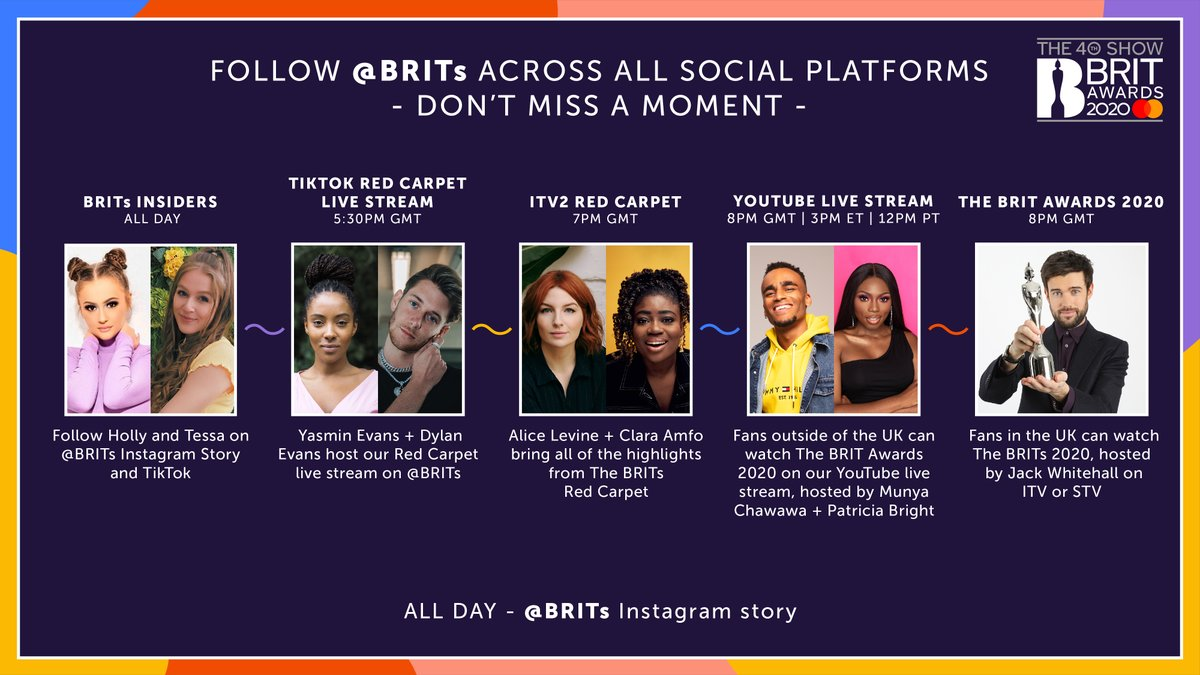 ⚡️ Happy BRITs day!!!! ⚡️Here's a lil rundown of where you can find all of The #BRITs related action throughout the day👇  Shoutout to @jackwhitehall, @YasminEvans, @MrDylanEvans, @PattyOLovesU, @munyachawawa, @Alicelevine, @claraamfo, @thetessamcguire + @HollyH!