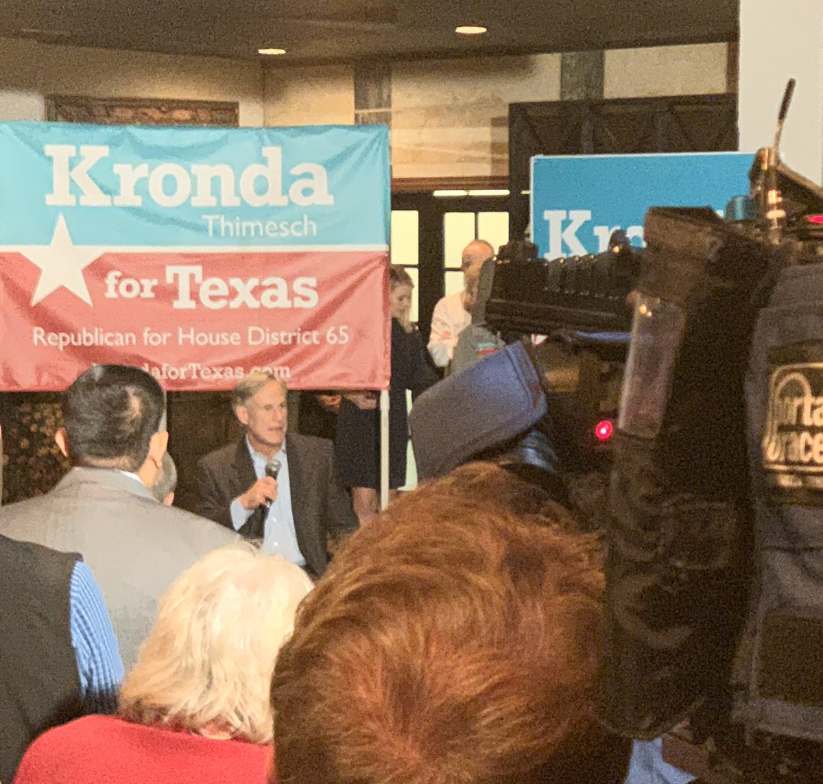 Standing room only as Governor @GregAbbott_TX talks about why he is supporting @KrondaForTexas for #HD65  #GoKrondaGo