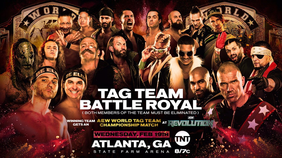 It's a tag team battle royal this Wednesday in #AEWAtlanta! The winning team will get a shot at the #AEW Tag Team Championship at #AEWRevolution!  Which team is coming out on top?  Watch #AEWDynamite LIVE every Wednesday night on @TNTDrama 8e/7c.