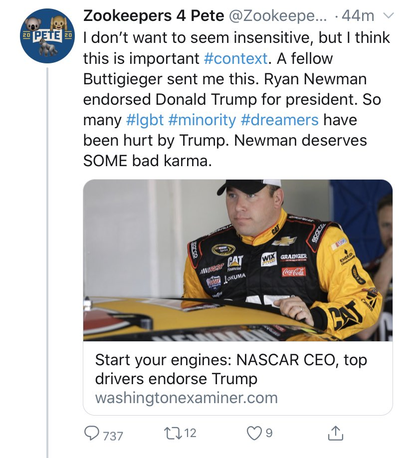 "This Democrat thinks driver Ryan Newman ""deserves"" what happened at the #Daytona500 because he supports President Trump.  This kind of thinking is depraved.  Please #PrayForNewman and his family."