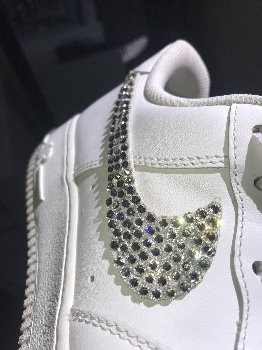 Crystal Air Force 1s. Previously worn in picture. I can do any color crystals. Message me if interested in buying some!! I use real crystals only. #crystals #nikeairforce #nike #customshoes #customnike #crystalairforce1s #crystalshoes #airforce1s #customairforce1s #custom #shoes