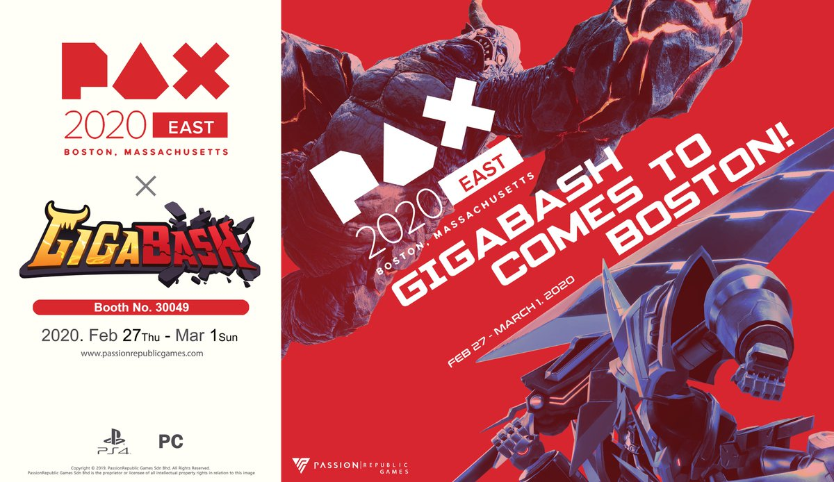 𝙃𝙚𝙡𝙡𝙤 𝘼𝙢𝙚𝙧𝙞𝙘𝙖! We are bringing #GigaBash to #PAXEast2020 ! Welcome to join us @ 𝗕𝗼𝗼𝘁𝗵 𝟯𝟬𝟬𝟰𝟵 for some multiplayer brawler battle. See you there, gamers!🤠 🗓️Feb 27-March 1   📍 Boston Convention & Exhibition Center  #PassionRepublicGames #indiegame #gamedev