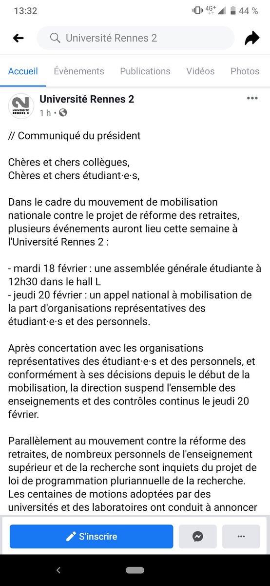 Sans pression désormais c'est le président de l'université Rennes 2 qui annonce les AG... 😤  Comme a son habitude, il se soumet à la dictature de cette minorité d'extrême-gauche qui détruit @UnivRennes_2 !