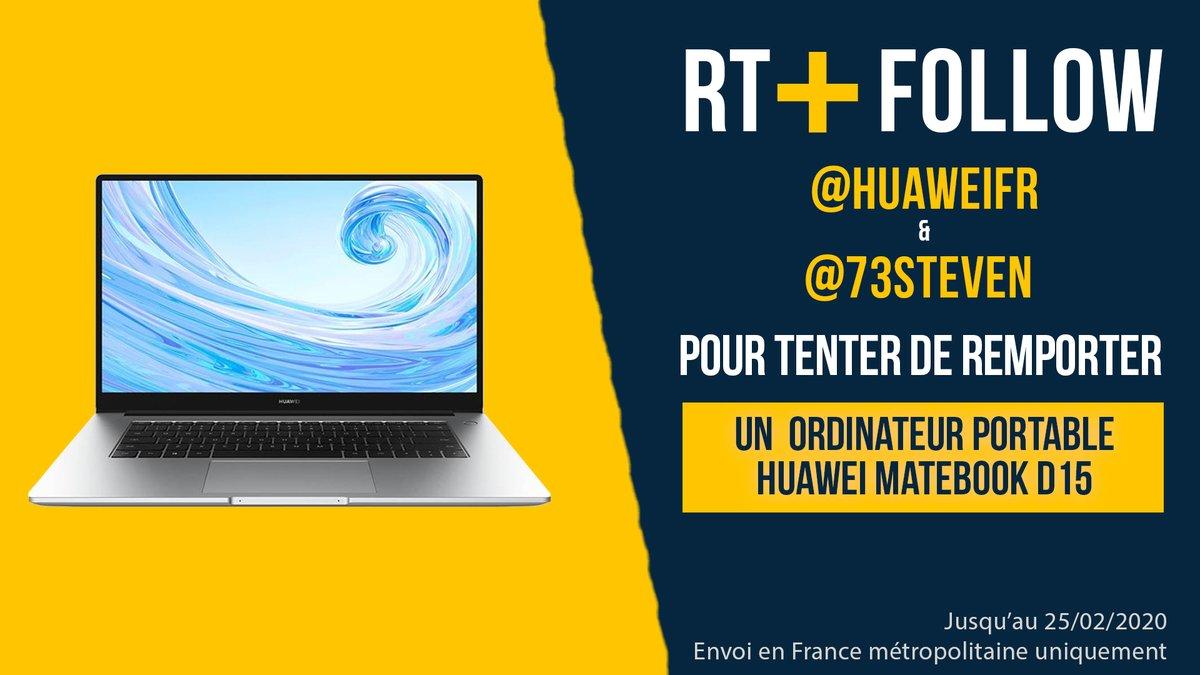 🎁 CONCOURS 🎁  Un PC Portable Huawei MateBook D15 à GAGNER 📱  1️⃣ Follow  @HuaweiFr     2️⃣ Follow  @73Steven  3️⃣ RT ce tweet  Vous avez jusqu'à 25/02/2020 pour participer 🤞