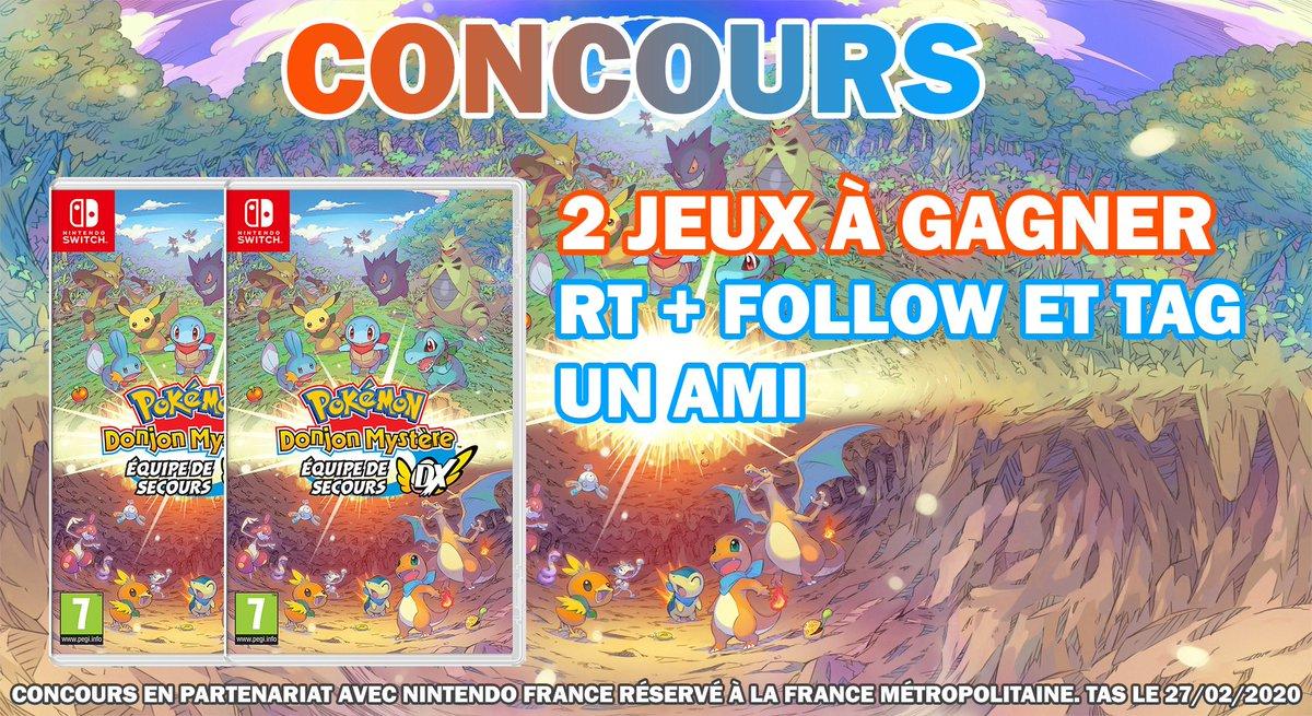 🎁 #Concours spécial #PokémonDM 👉Tentez de gagner un jeu Pokémon Donjon Mystère : Équipe de Secours DX avec Nintendo France 🔸 RT + follow @pokekalos + tag un partenaire de jeu qui en gagnera un ! TAS le 27/02. Participe aussi sur notre page Facebook