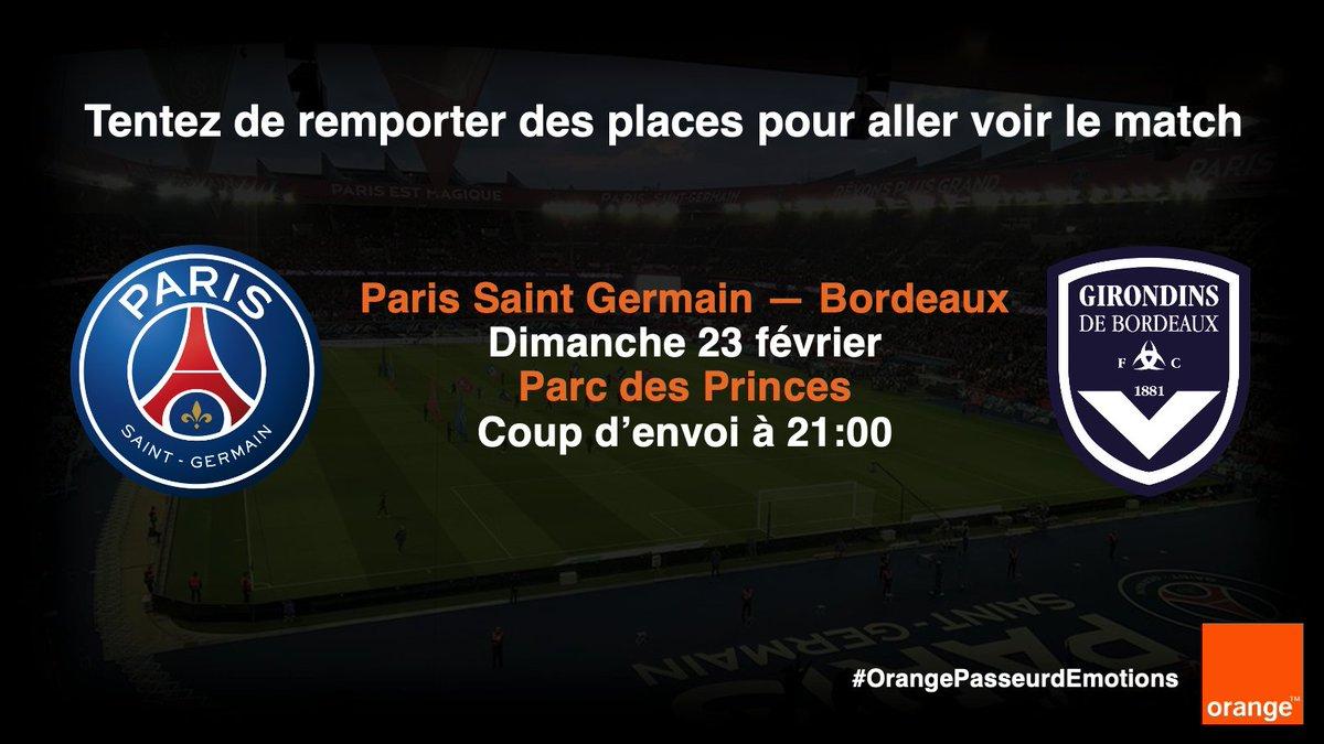 Fan de #Football ? ⚽️  Dimanche 23 février, le @PSG_inside reçoit @girondins au Parc des princes pour la 26ème journée de Ligue 1 ⚡️  Tentez de remporter deux places pour assister au match: ➡️RT & Follow @OrangeIDF ➡️TAS le 22/02 au matin  Bonne chance !  Avec @TeamOrangeFoot