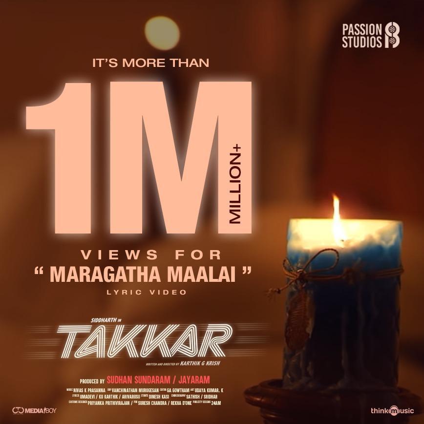 The feel good melody #MaragathaMaalai from #Takkar has crossed more than 1 million views.    A @nivaskprasanna Musical 🎵 @IAMVIJAYYESUDAS @Chinmayi & @pradeepvijay Vocal @Actor_Siddharth @iYogiBabu @itsdivyanshak @Karthik_G_Krish @editorgowtham