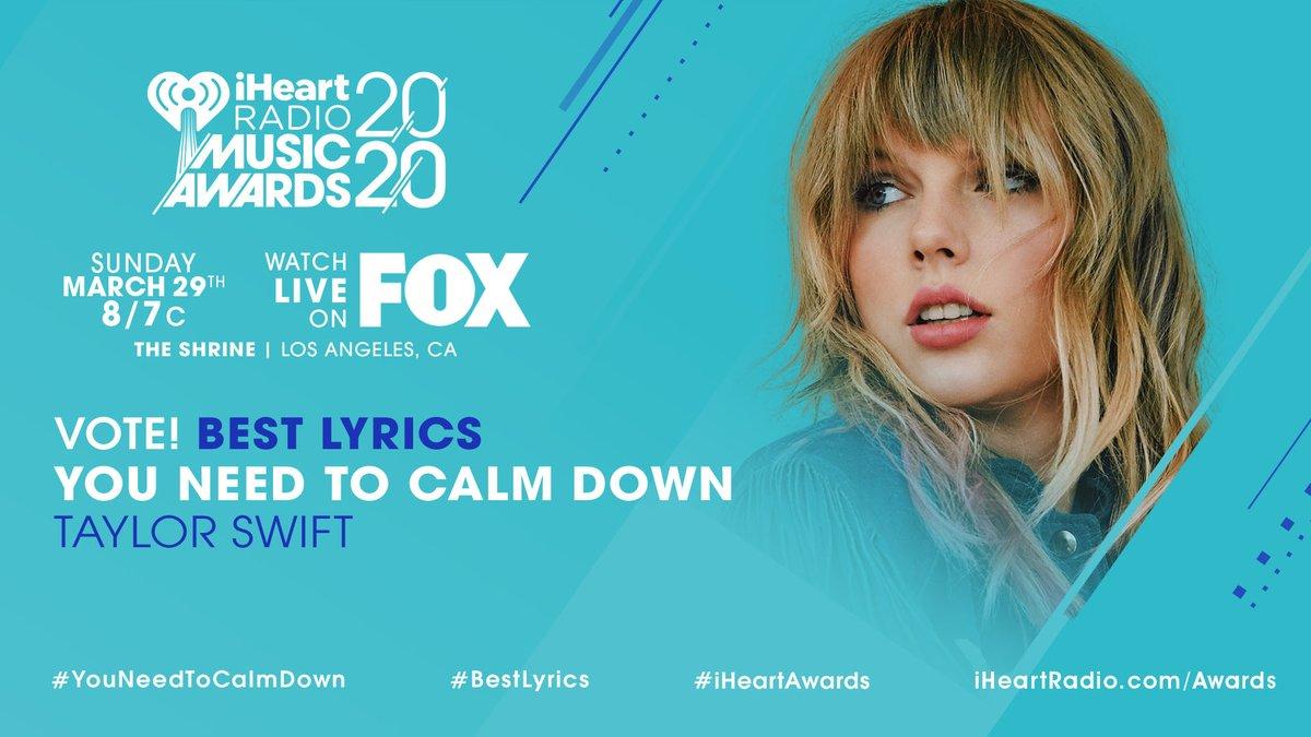✨ @taylorswift13 ✨  #YouNeedToCalmDown #BestLyrics #iHeartAwards