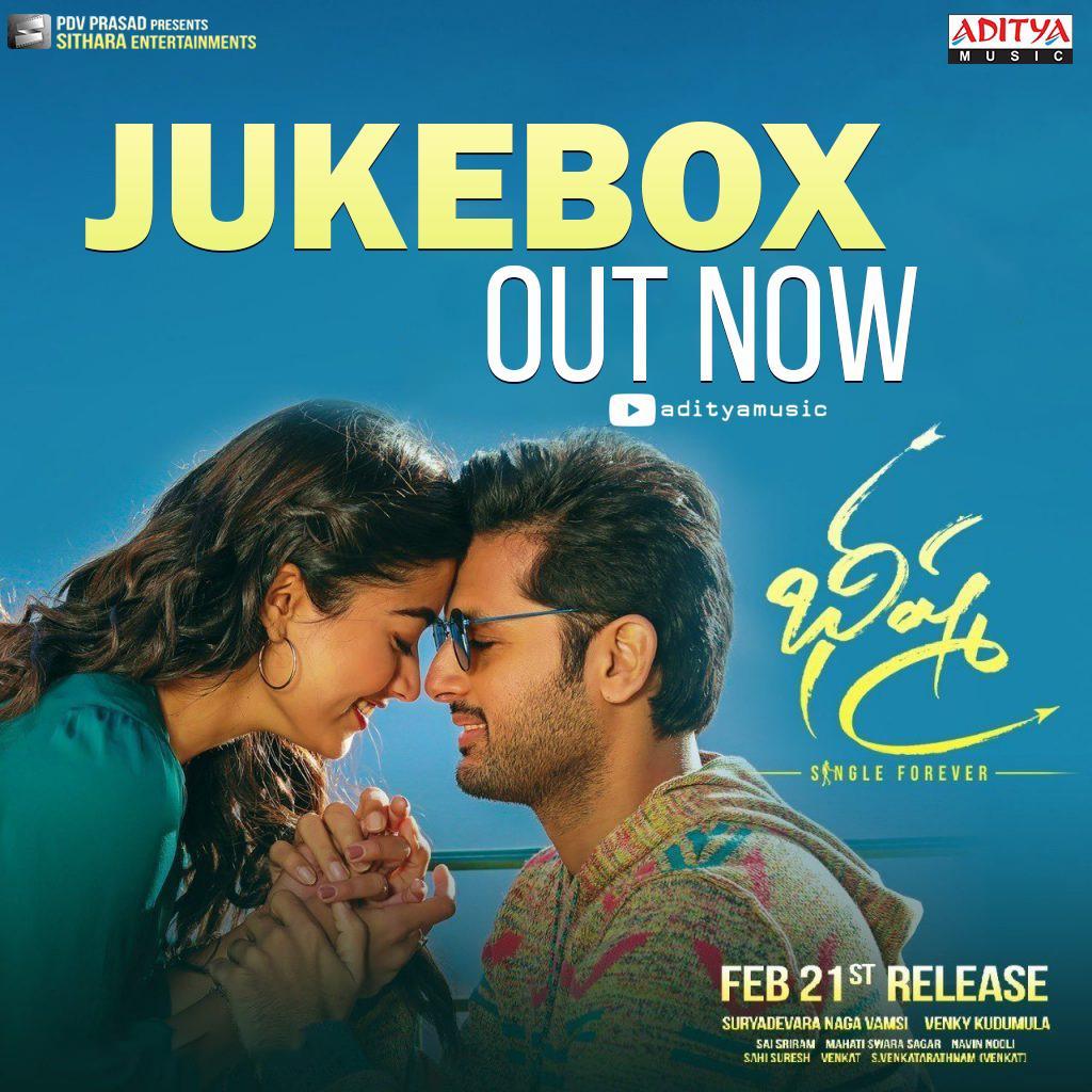 Here's the refreshing #BheeshmaAudioJukebox  ▶   @actor_nithiin @iamRashmika @VenkyKudumula @mahathi_sagar @saisriram_dop @sahisuresh @vamsi84 @SVR4446 @adityamusic @SitharaEnts