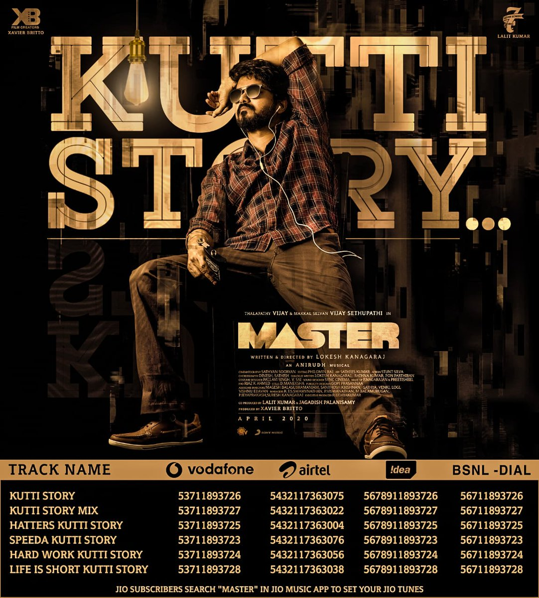 Give your callers a slice of #Thalapathy's #KuttiStory! Set your ring-back tunes now! ❤️🎼  ➡️   @actorvijay @anirudhofficial @Dir_Lokesh @Jagadishbliss @Lalit_SevenScr @Arunrajakamaraj @XBFilmCreators @7screenstudio   #Master #MasterSingle