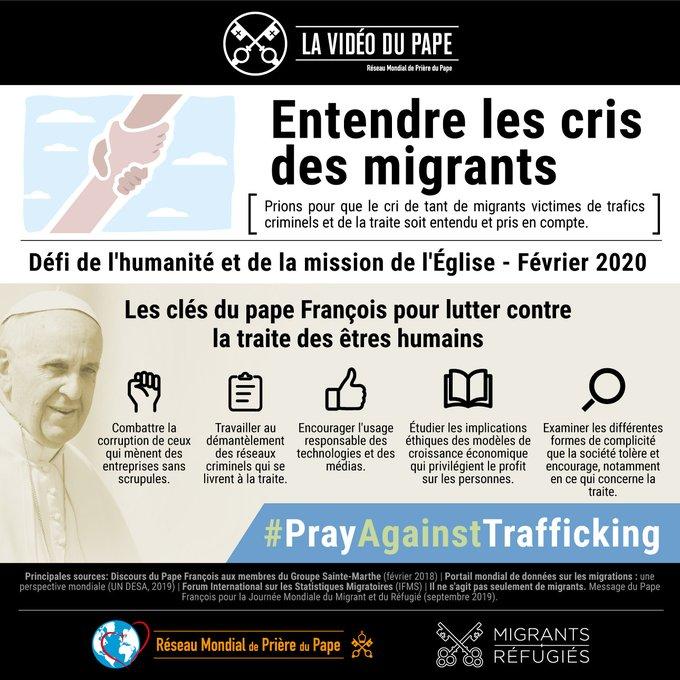 Que nos peurs ne nous cache pas leur visage. Le Pape François nous invite ce mois-ci à prier pour que le cri des migrants victimes de la traite criminelle soit entendu et pris en compte #PrayAgainstTrafficking @lavideodupape  @M_RSection_Fr @TalithaKumRome