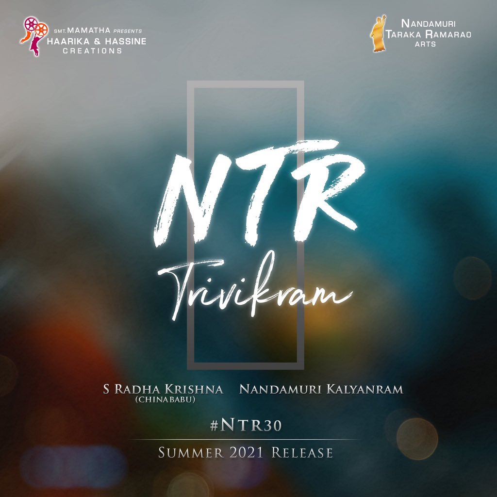 Good news!!  Young Tiger @tarak9999 & #Trivikram garu are coming together again for #NTR30 & it will be produced by @haarikahassine along with @NTRArtsOfficial! @NANDAMURIKALYAN   Shoot starts this May & April 2021 Release!!