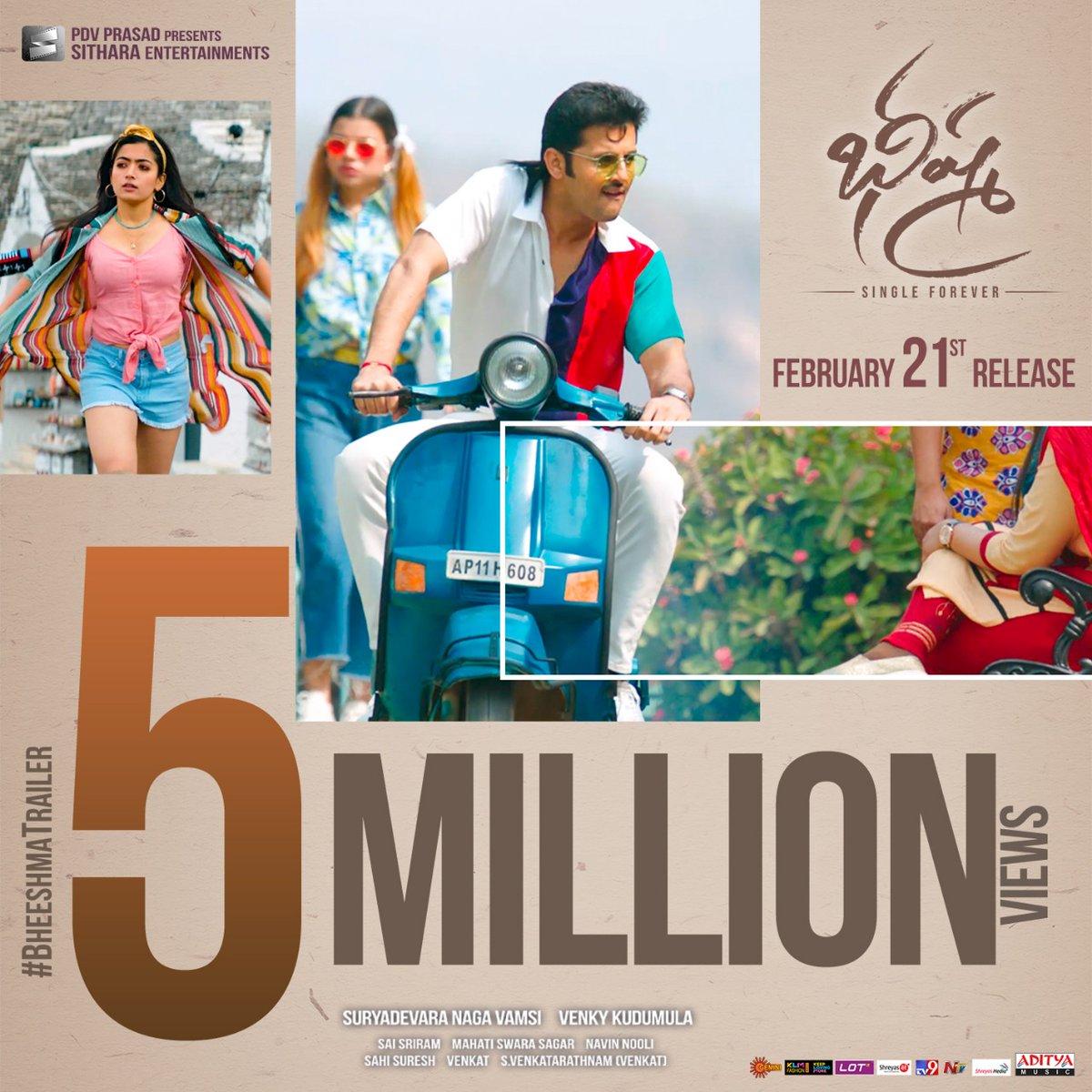 5 Million views & counting for #BheeshmaTrailer!! Watch #BheeshmaOnFeb21st at your nearest theatres!  ICYMI -   @actor_nithiin @iamRashmika @VenkyKudumula @mahathi_sagar  @vamsi84 @adityamusic @sitharaents