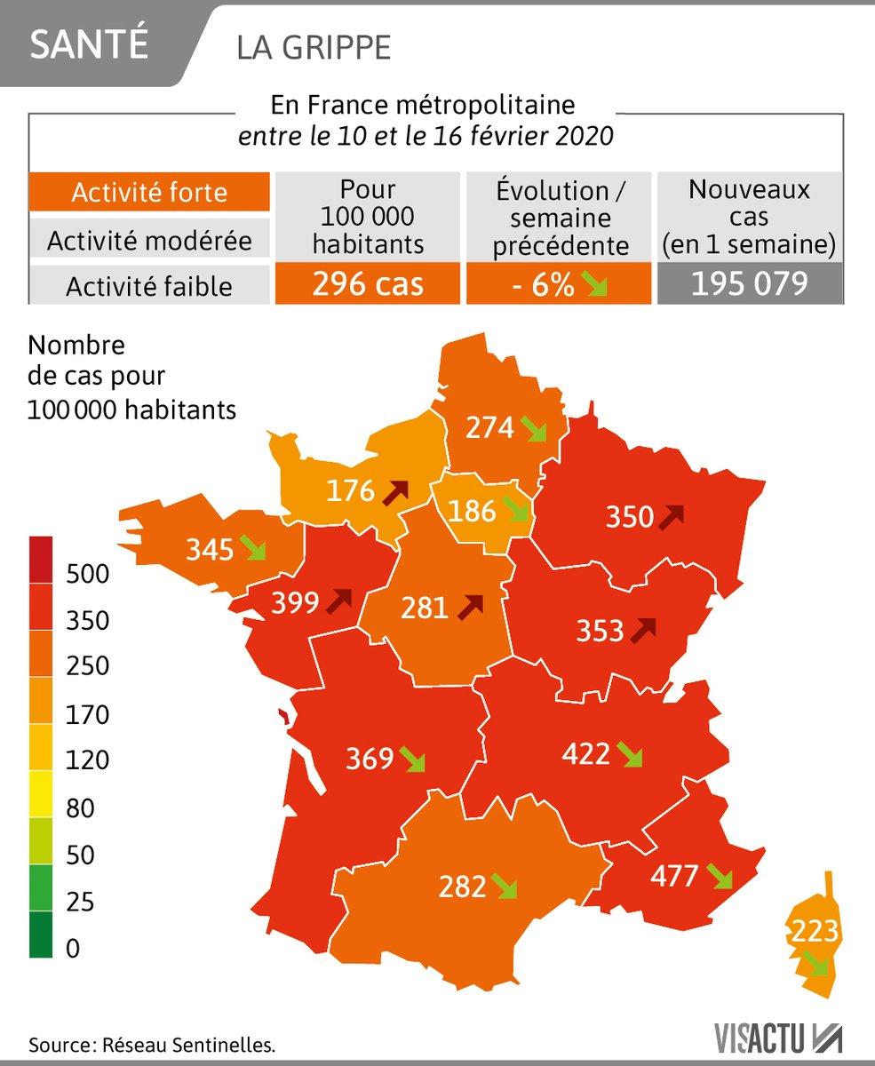 CARTES - L'ensemble des régions toujours concernées par l'épidémie de grippe, le pic atteint en Île-de-France