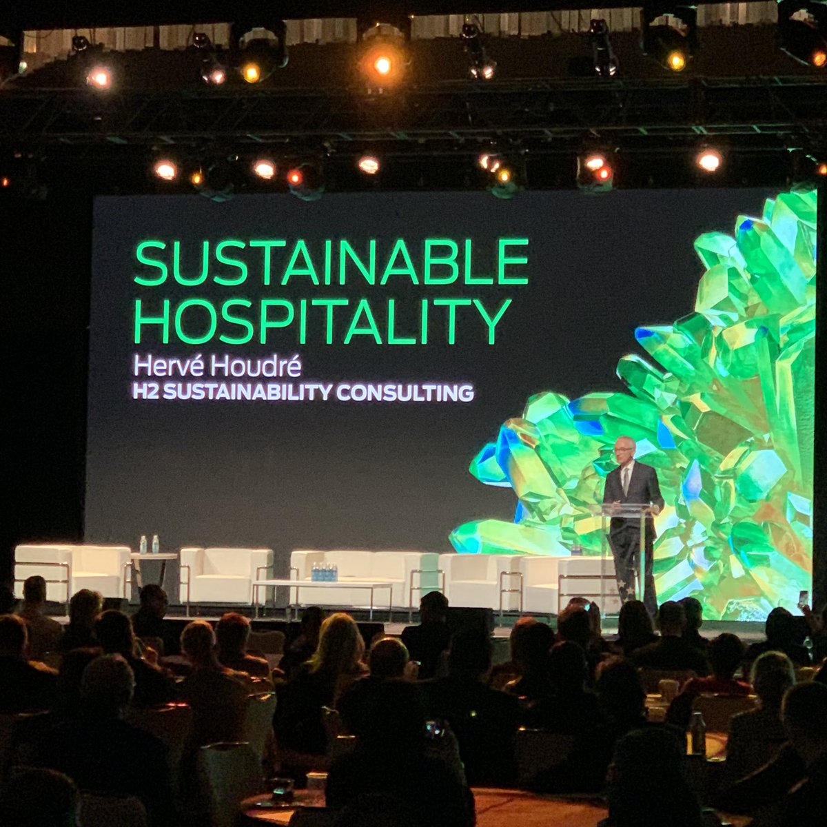 Great opening presentation by Herve Houdre, principal of H2 Sustainability Consulting about #sustainable #hospitality. @Hoteliermag @ForbesInspector @ORHMA @GTHAtweets @hotelassoc