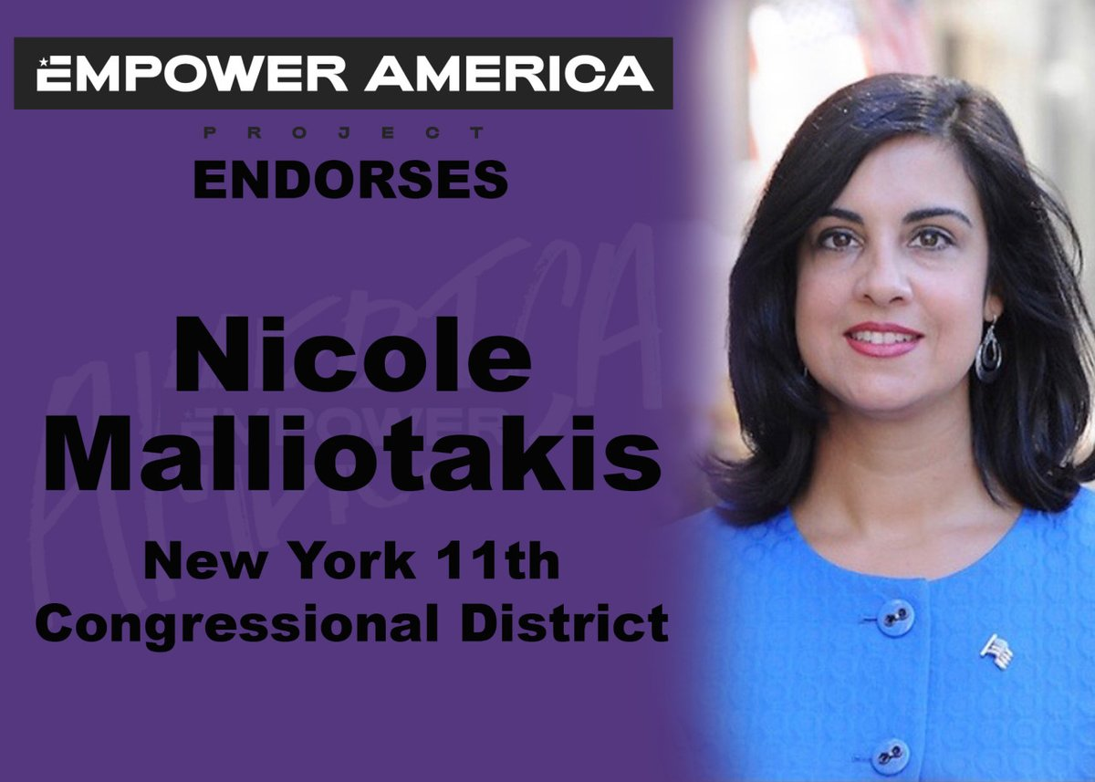 Empower America Project proudly endorses Nicole Malliotakis for New York's 11th Congressional District. Nicole has proven her ability to work for New Yorkers in Albany, and it's time to take her common-sense solutions to Washington.