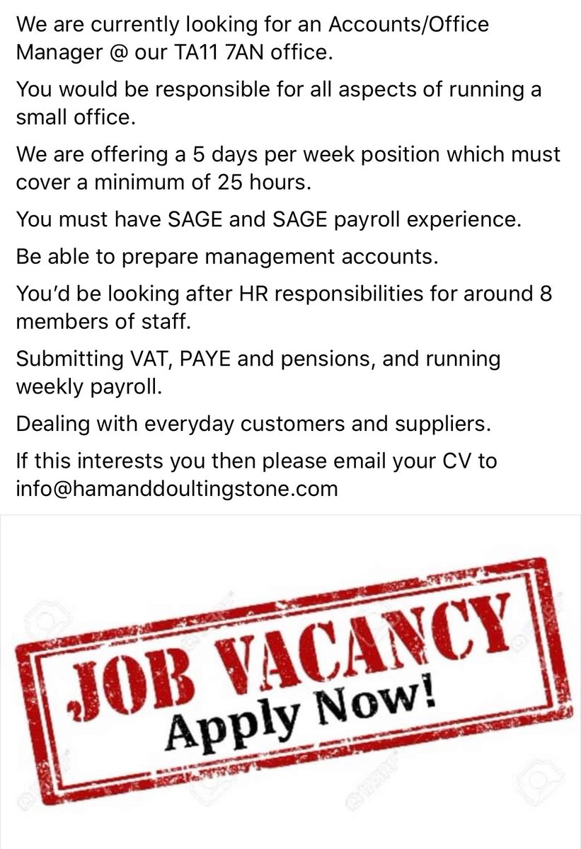 Job Vacancy  Accounts/Office Manager. Email CV to info@hamanddoultingstone.com https://t.co/2ay1DoFZ5