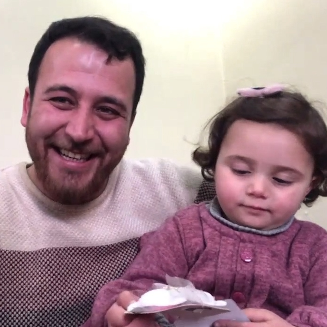 """""""If the bomb falls on top of us, we would have died while laughing.""""  This father went viral for teaching his daughter to laugh at bombs. We talked to him about coping with the reality of war:"""