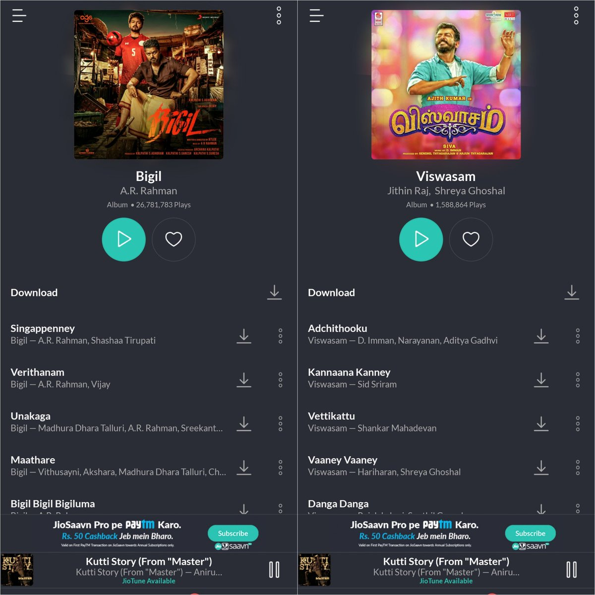 #Bigil Album Which is Released 10Months+ after #Viswasam Got 25M+ Plays More. Fanbase Speaks 😎  #Bigil Album - 26.7M+  #Visawasam - 1.5M+ / Waiting for #Master Album 🥁🔥 @anirudhofficial