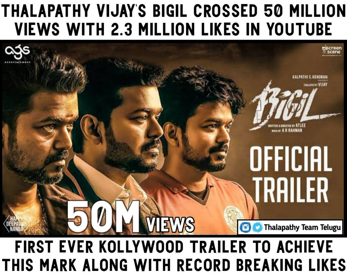 #Bigil trailer crossed the milestone of 50M views with 2.3M likes . First ever Kollywood trailer to achieve this mark . Just #Thalapathy things 😎😎😎   @actorvijay 💙   #Master  #BigilTrailer  #BigilTrailerHits50Mviews  #BigilTrailerHits50MillionViews