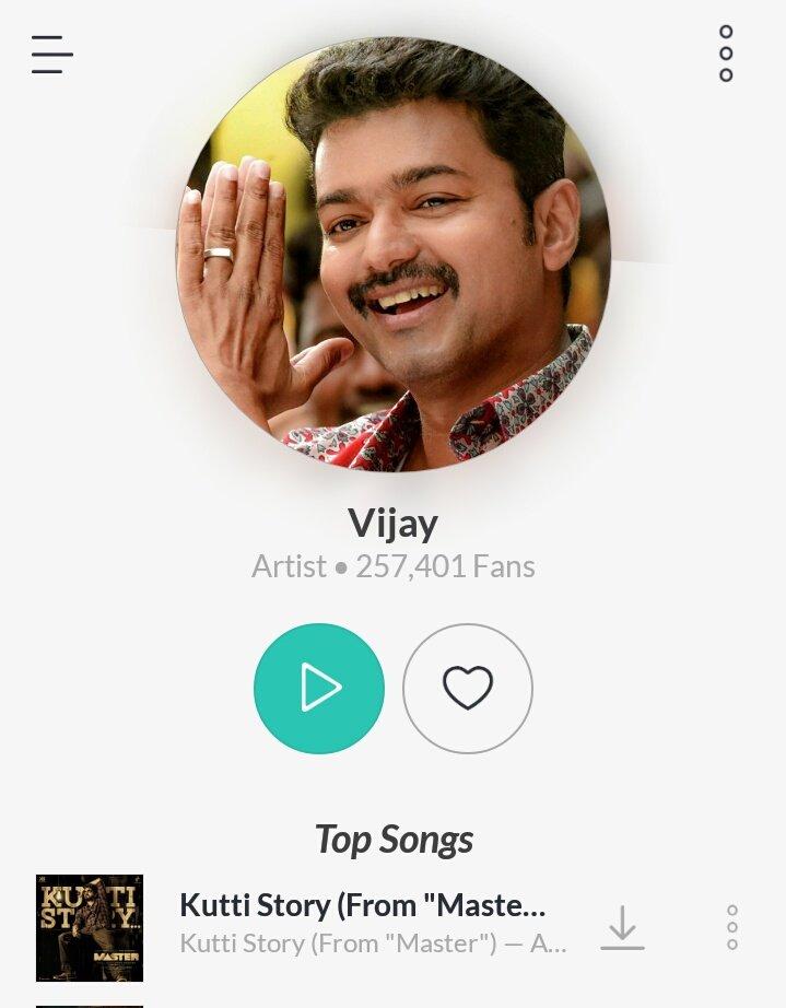 #JioSaavn ! Artist and Fans.  Thalapathy - 257.4K+ Fans ❤️  Ajith kumar - 3.3K Fans 🏄  #Master of Social Media! @actorvijay