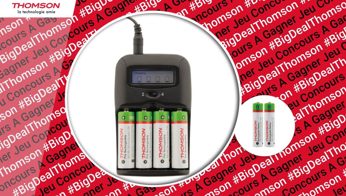 Voici un pack avec chargeur de piles à rechargement rapide compatible AA et AAA + 2 piles rechargeables #Thomson ! À gagner aujourd'hui :  ➡ RT + FOLLOW @Thomson_FRA !  ➡ Pour quel appareil en auriez-vous le plus besoin ?  #BigDealThomson #ThomsonElectricité 🎁 🍀