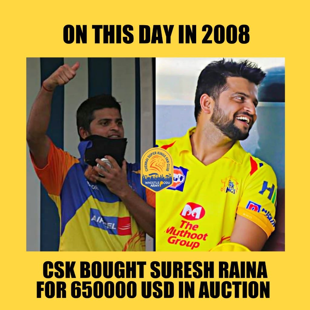#OnThisDay in 2008,   Chennai Super Kings bought @ImRaina for $650,000.   ...and the rest is yellove'ly history!💛🦁  #ChinnaThala #WhistlePodu @ChennaiIPL
