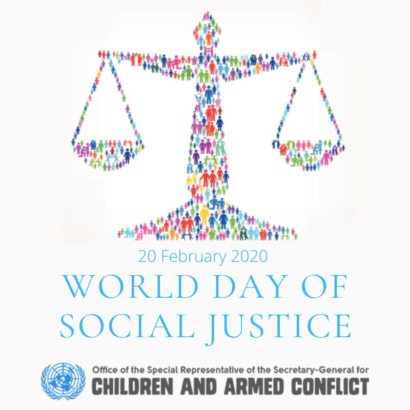 Today is World Day of #SocialJustice Social justice is fundamental 4 peaceful & prosperous coexistence. 2 billion people live in conflict zones, of whom more than 400 million are #children. Together we can #ACTtoProtect boys and girls from the effects of conflict