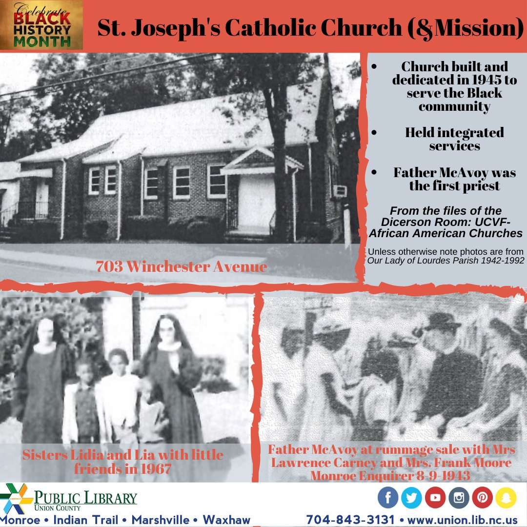 #tbt Did you know that there was a predominately Black Catholic Church in Monroe in the 1940s? #historyatUCPL #BHMC2020 #ucplnc #unioncountyNC #OurLadyofLourdes