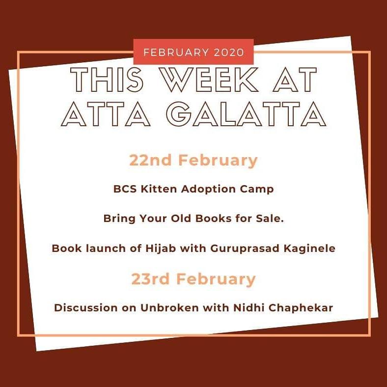 Cute kittens, BYOB sale, book launch and discussion awaits you this weekend at #AttaGalatta  #Books #BookLovers #BookLaunch #Sale #KittenAdoption #ThisWeekend #ReadersOfBangalore #Koramangala #Bangalore
