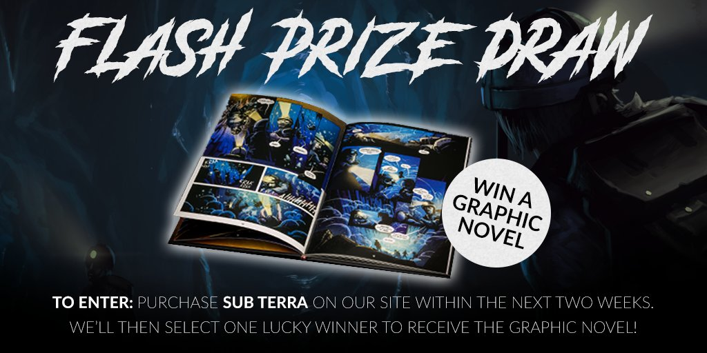 How about a prize draw to keep you on your toes? For the next two weeks, anyone who buys the game Sub Terra on our site will be entered into a draw. In two weeks, we'll pick the name of one lucky winner to send the beautiful Sub Terra graphic novel to! Good luck! 🤞 #PrizeDraw https://t.co/d2nF5CayZI