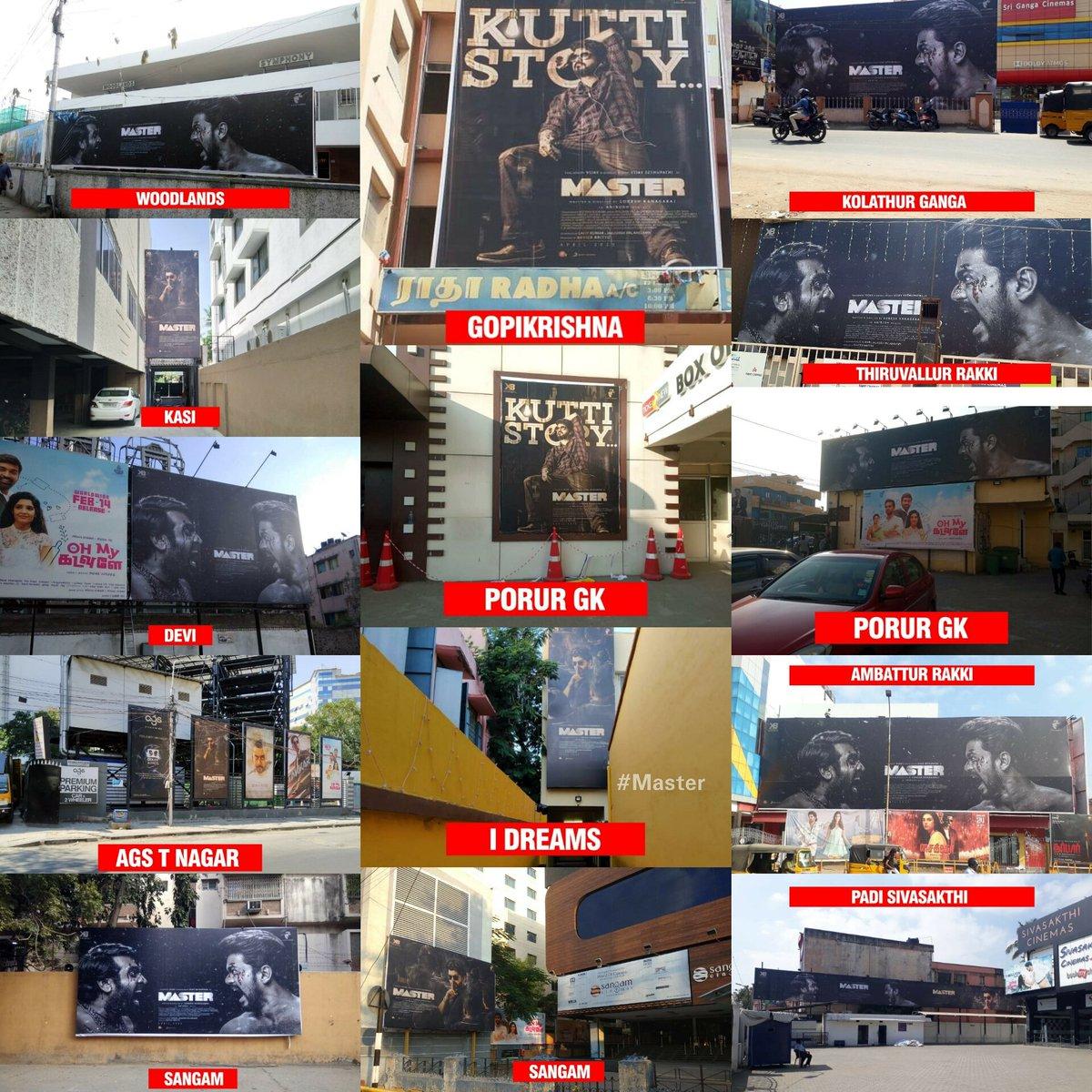 #ThalapathyVijay's #Master hoardings placed at Chennai Theatres! @MasterMovieOff.  1) @kasi_theatre  2) @GKcinemas  3) @ganga_cinemas  4) @SangamCinemas  5) @agscinemas  6) @rakkicinemas  7) @Sivasakthicinem  8) @Marlencinemas 9) #Woodlands 10) #IDreamCinemas 11) #Devicinemas