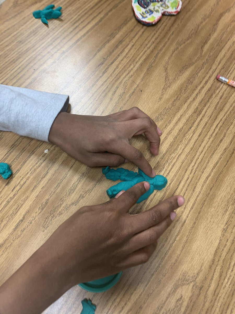 Starting off our economics study! Today we are making things with play dough to trade with each other. What would you trade for this bigfood figurine? @HighPointFCS #economics #teacher