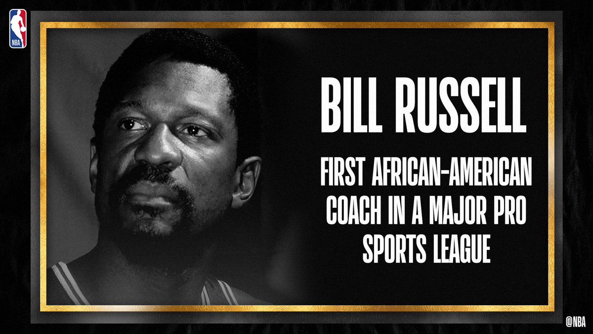 Bill Russell... the first African-American coach in a major pro sports league.   #NBAVoices #BHM