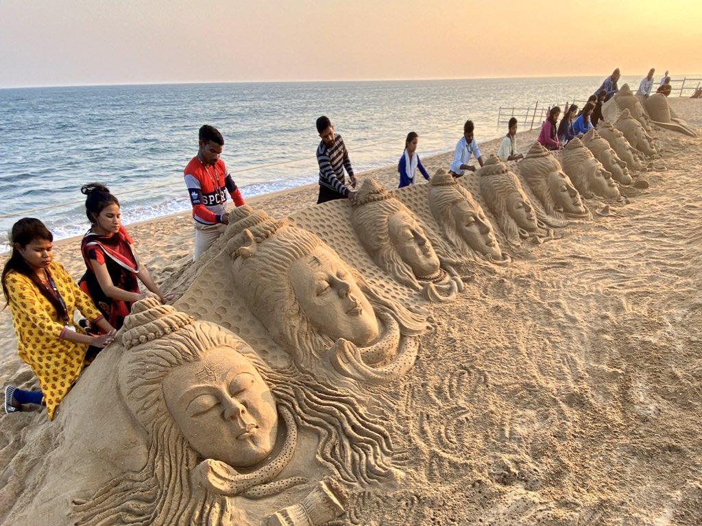 "On the occasion of #MahaShivaratri My students created 11 sand sculptures of #LordShiva With message ""omm Namah Shivay"", at Puri beach in Odisha https://t.co/1Z0wWoGO5V"