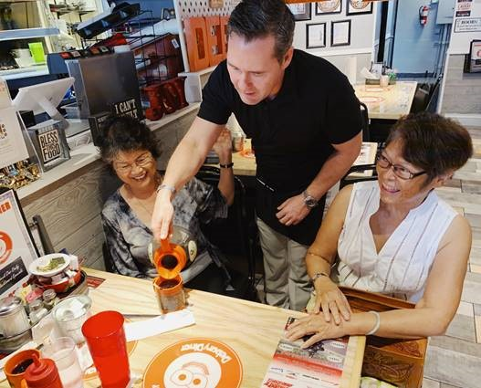Coffee Chat with a side of pie and politics. @RepMichaelWaltz taking tips at DeBary Diner today... not cash tips, but tips on what's on the minds of folks in Volusia County.   @MyNew13 (Photo provided by Waltz's office)