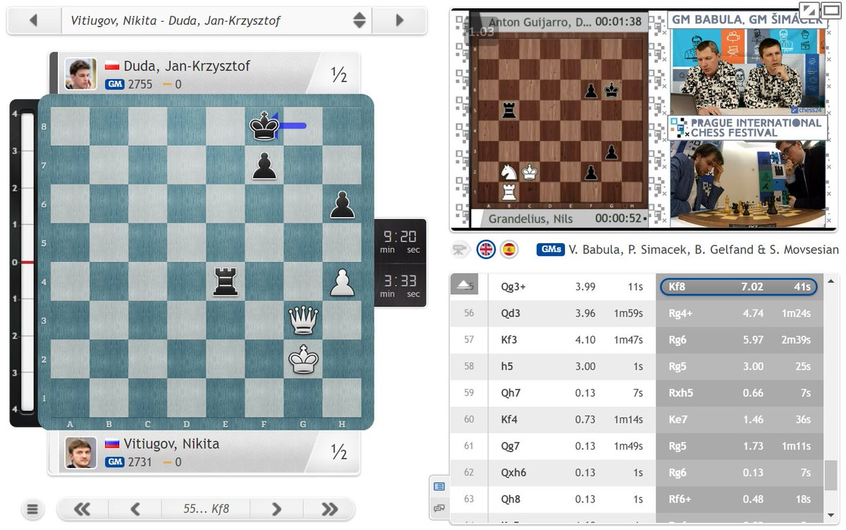 test Twitter Media - Another chess is tough moment - Vitiugov had a tablebase win (7 moves win, with 56.Qa3+ mate-in-29...) until he played 56.Qd3 here: https://t.co/IS1zpSe0Mg  #c24live #picf2020 https://t.co/JF2I6JPu1C