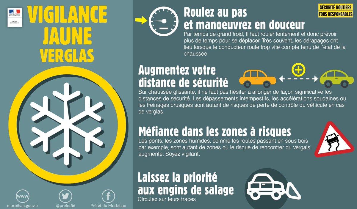 [Circulation] ❄ Le #Morbihan sera en #vigilance jaune #neige #verglas à partir de 2h cette nuit du jeudi 20 au vend. 21 février et jusqu'à 9h ⚠️ On vous rappelle quelques consignes à observer👇🏻 Soyez prudents sur les routes