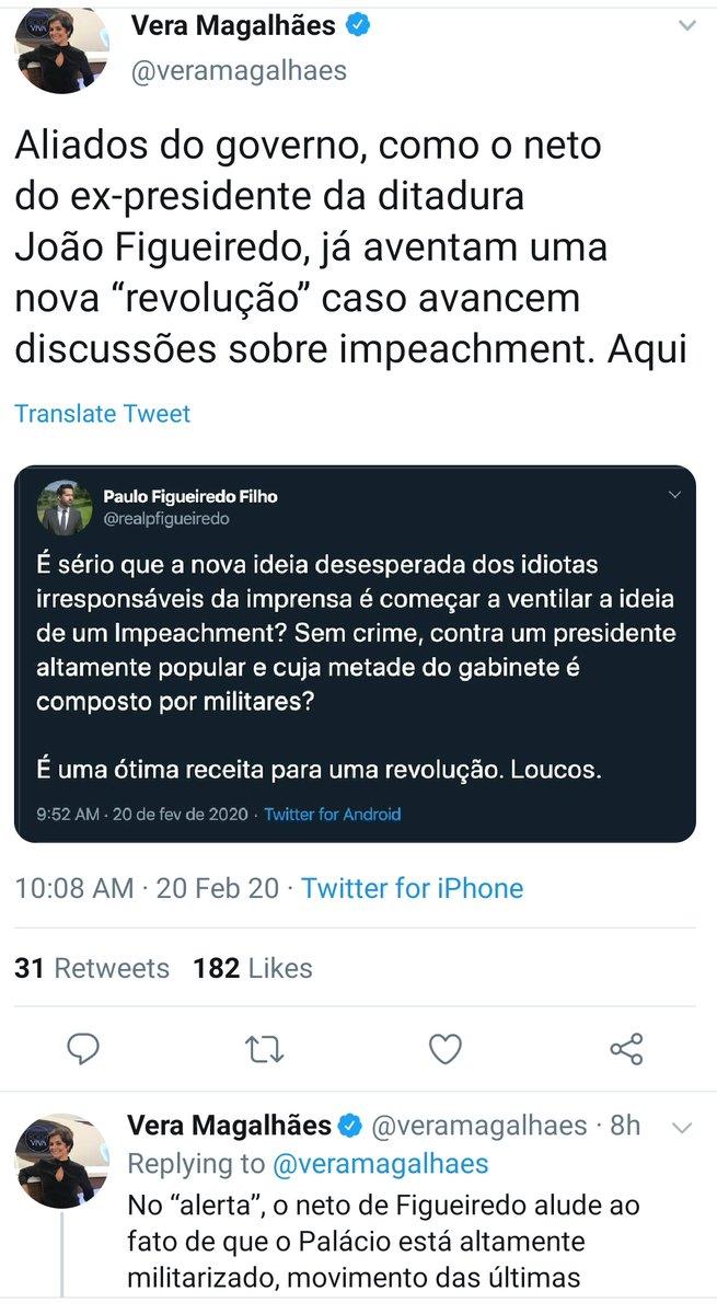 """A @veramagalhaes fez o que faz o típico jornalista brasileiro: entendeu tudo errado, enfiou dentro do contexto adverso, me caracterizou equivocadamente e inventou uma associação @jairbolsonaro com """"Ditadura"""". Em seguida usou o termo """"militarizado"""", desconhecendo seu significado."""