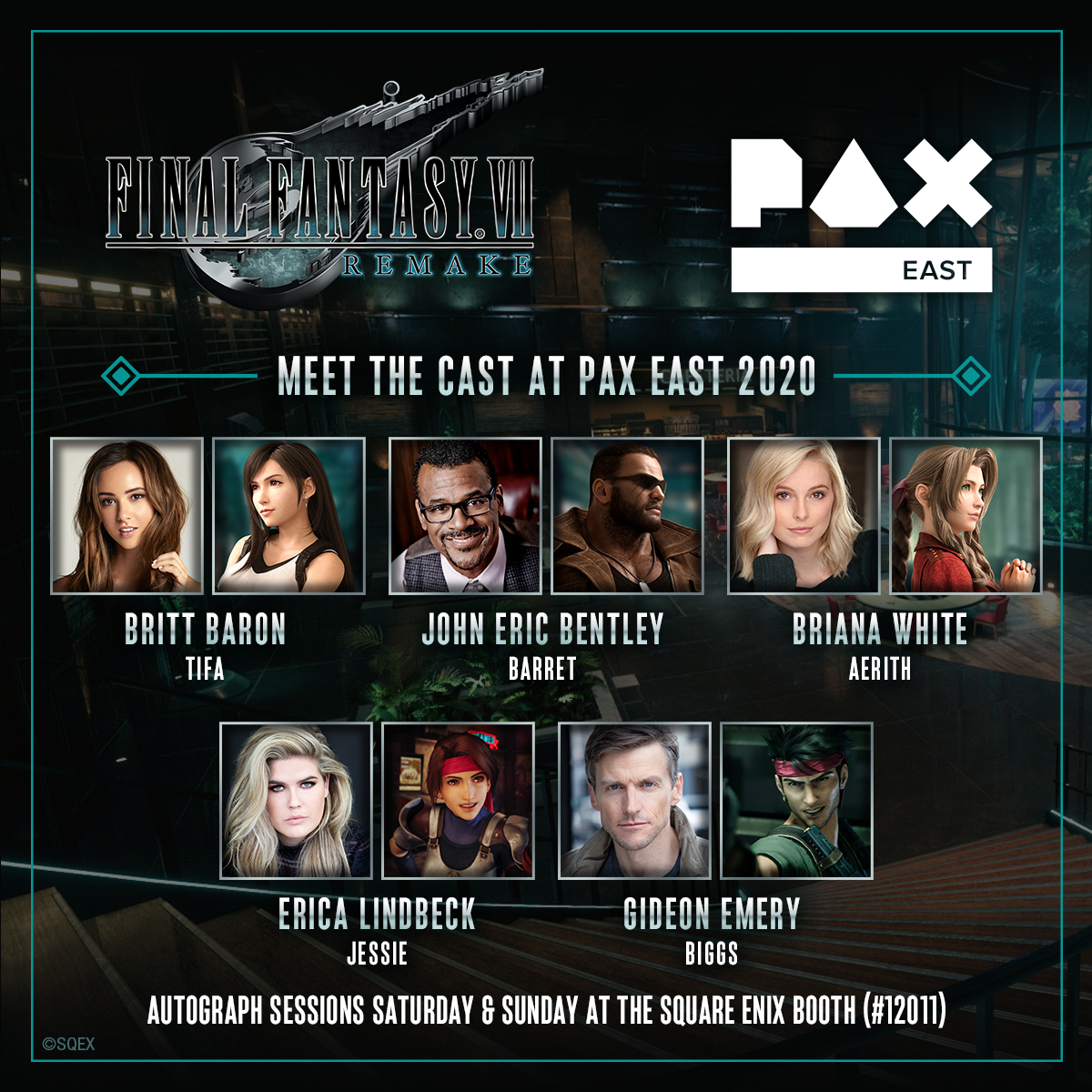 #PAXEast attendees! Meet the cast of #FinalFantasy VII Remake on Saturday and Sunday at the @SquareEnix booth! We'll have two autograph sessions per day, with tickets handed out the morning of that day's sessions. See you there! #FF7R