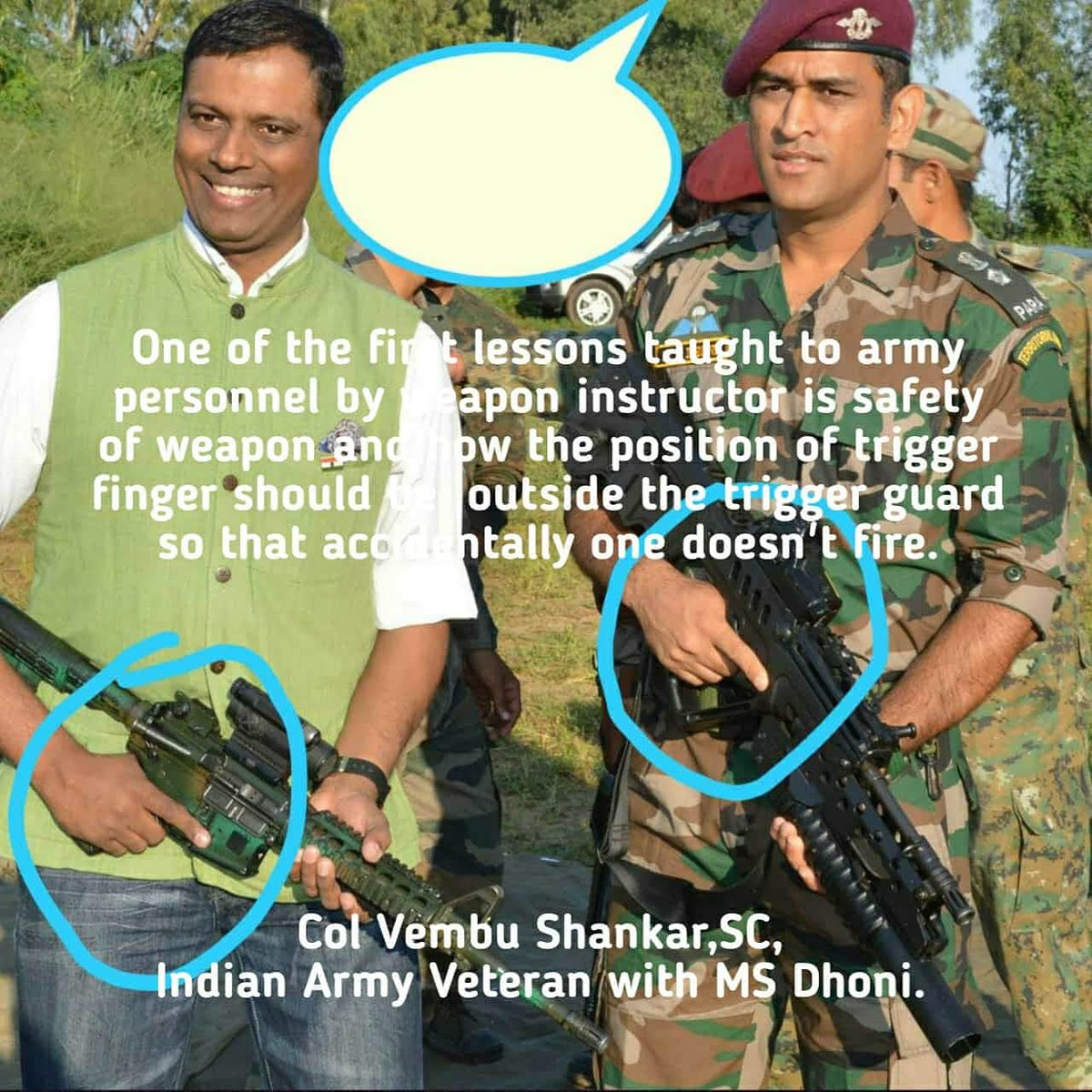 Via @vembushankar  Pictures speak a 1000 words!  One of the first lessons taught to army personnel by the weapon instructor is safety of weapon and how the position of trigger finger should be  outside the trigger guard so that accidentally one doesn't fire.  #LongRead #Dhoni