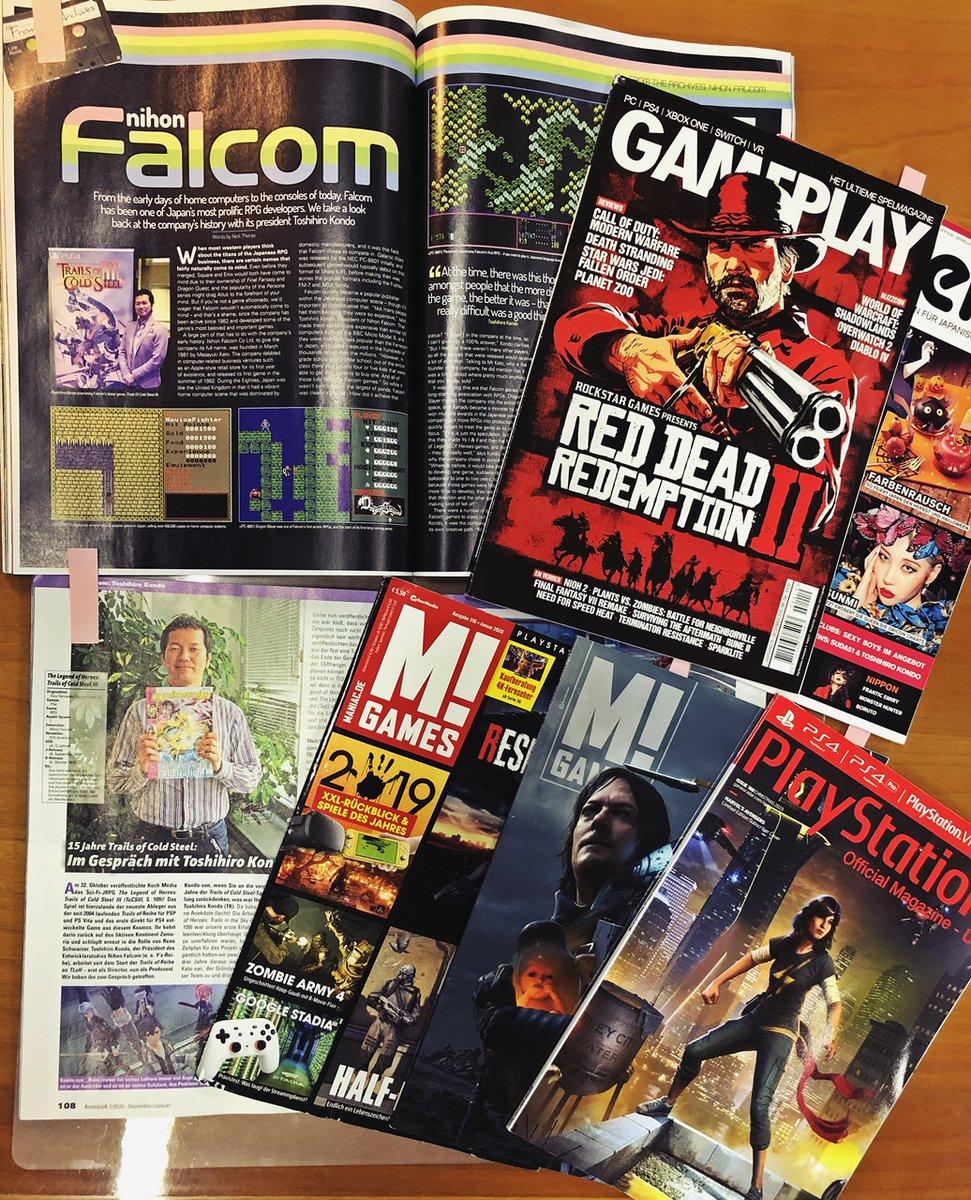 ★今月は海外のいろんなゲーム雑誌に、日本ファルコム 「近藤社長」がいっぱい乗ってます。  #創の軌跡 #ys9 #イースIX #イースVIII #ys8 #閃の軌跡 #零の軌跡 #碧の軌跡 #空の軌跡 #falcom #ファルコム #rpg #jrpg #PS4 #アクションRPG