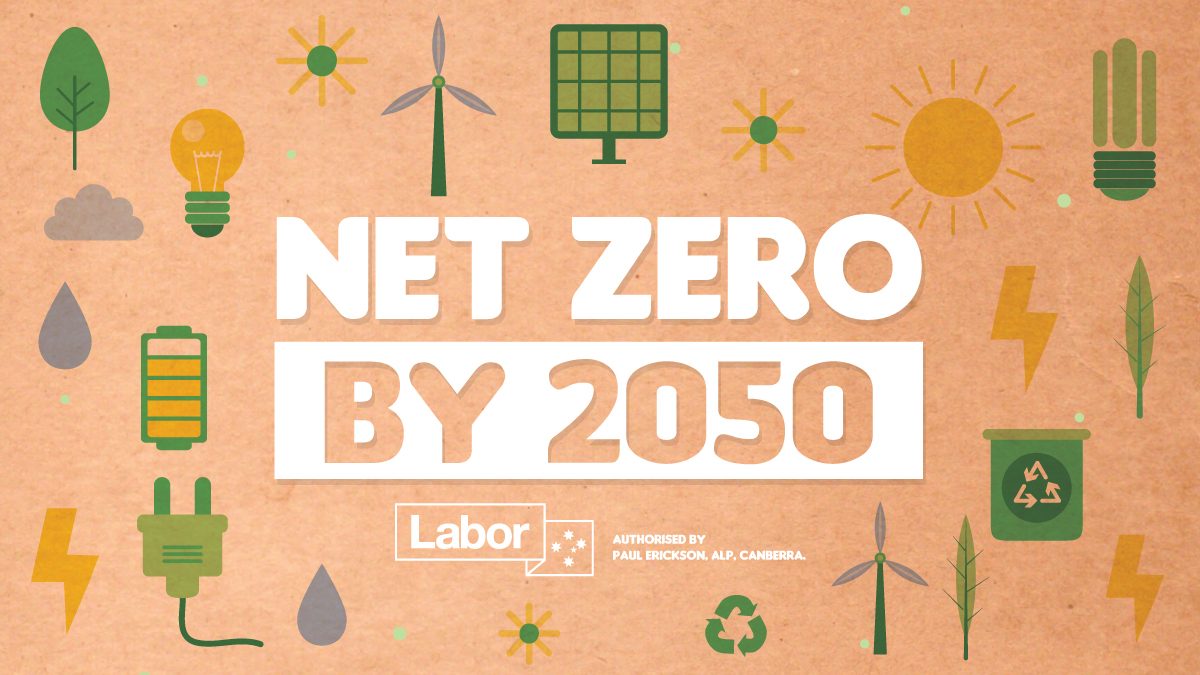 It's official – an Albanese Labor Government will set a target of net zero emissions by 2050.   While Scott Morrison and the Coalition has no plan for climate change, we're showing the leadership Australia needs. #auspol