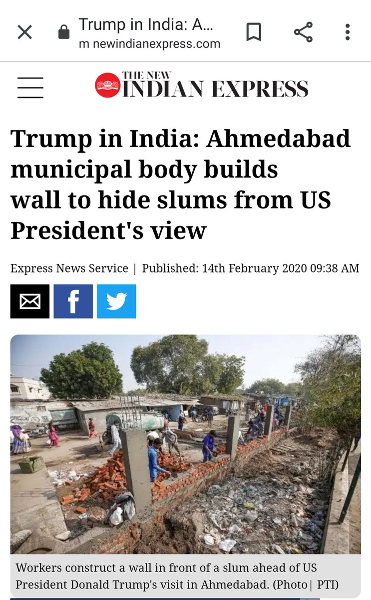 @JenniferJJacobs Bet   NARENDRA never told Trump about this. 👇👇👇  Wonder what Narendra is ashamed of.   Or is @realDonaldTrump ashamed to look at the POOR and Their sufferings ? #POTUS