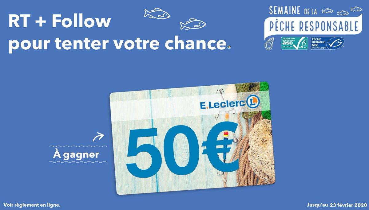 Prenez le large avec E. Leclerc à l'occasion de la semaine de la Pêche Responsable : 50€ à gagner en e-carte cadeau. RT + Follow pour participer. #Jeu #Concours #BienChoisir