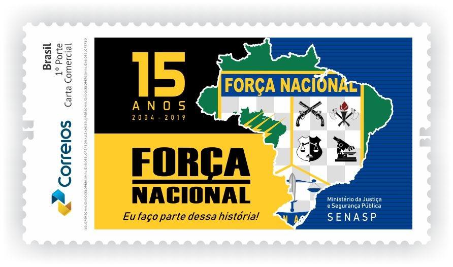 Para marcar os 15 anos de atuação da Força Nacional, completados em 2019, os Correios produziram selo personalizado e carimbo comemorativo. A iniciativa homenageia uma das principais instituições de segurança pública do país.