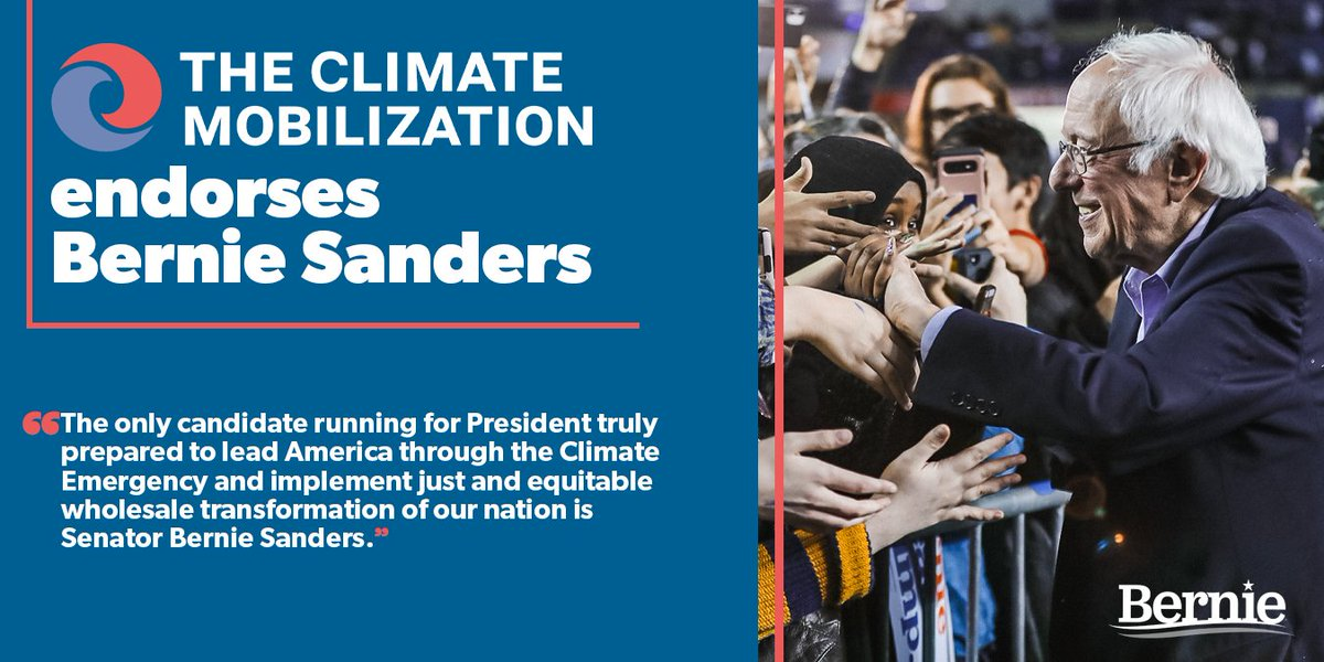 🚨BIG NEWS🚨   We are proud to announce our endorsement of @BernieSanders in the 2020 Presidential race!   ➡️This is a #ClimateEmergency ➡️Gradualism is a death sentence ➡️Only urgent, radical change can save us🌍   President Bernie Sanders is the champion our movement needs.